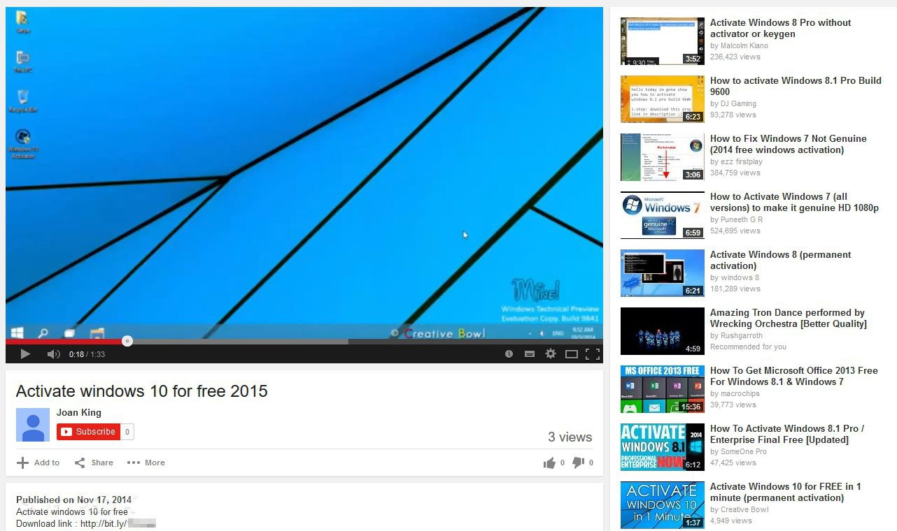 Fake windows 10 activators spreading all over the web windows 10 version number 5 images fake activator on youtube ccuart Choice Image
