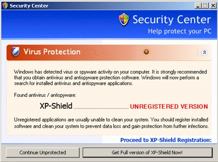 Fake Windows Xp Security Center In The Wild