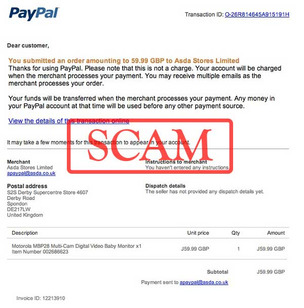 fake you submitted an order paypal emails used to phish credentials