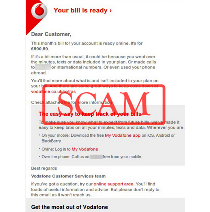 Fake your bill is ready vodafone emails spread malware fake vodafone email click to see full thecheapjerseys