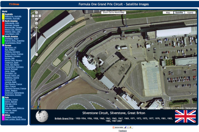 Formula One Circuits Live on Google Maps