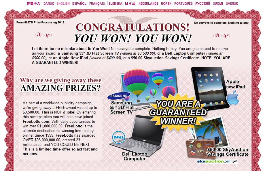 Apple prizes scam
