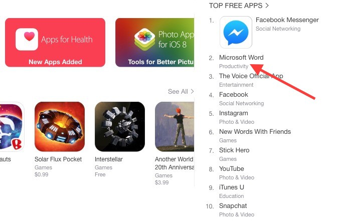 Free Microsoft Office Takes Over iPhone, iPad App Stores