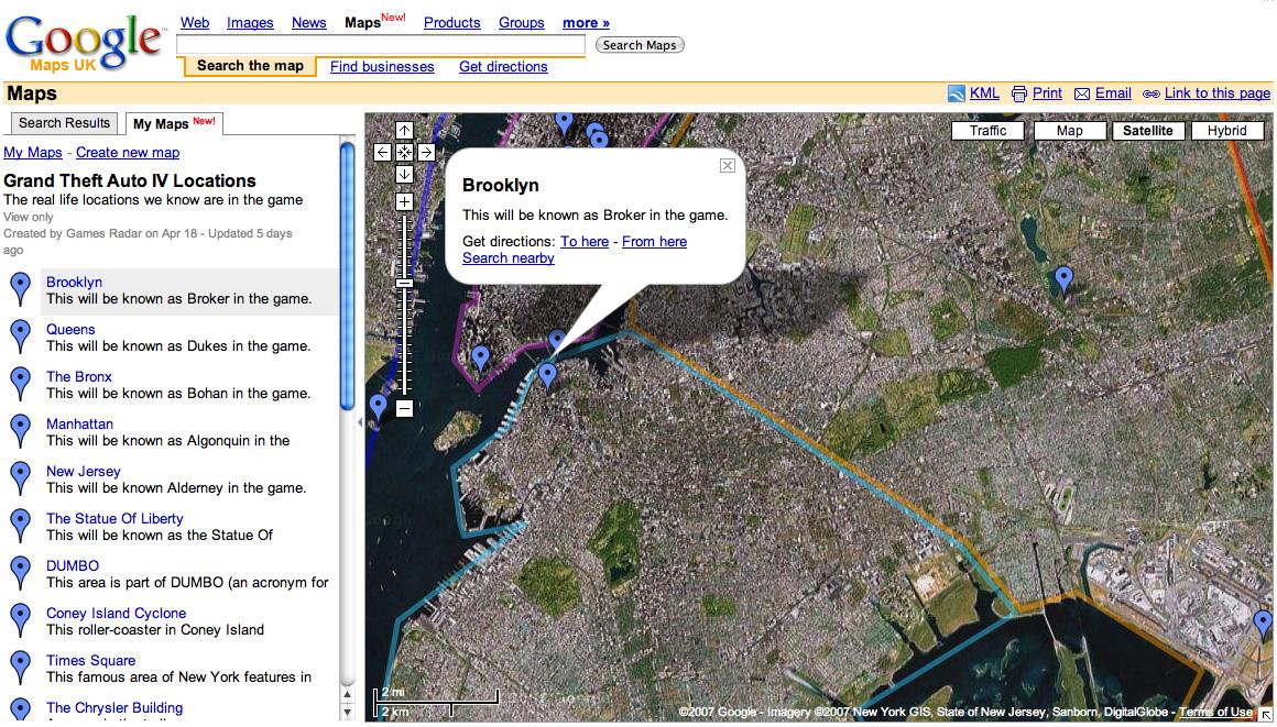 GTA IV Included in Google Maps