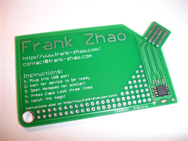 Get your geek on with frank zhaos usb business card video included franks zhao flat usb business card reheart Images