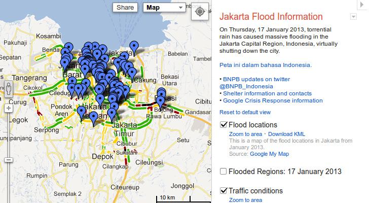 Google creates crisis response map and info page for jakarta floods googles crisis response page for the 2013 jakarta floods publicscrutiny Image collections