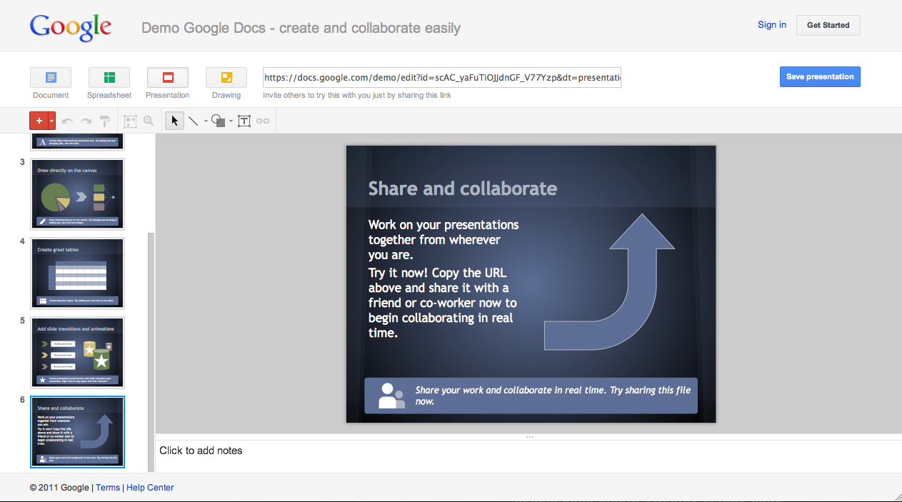 google docs presentation demo works without an account is part demo