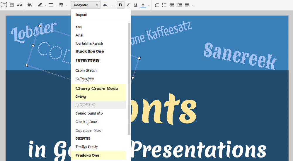 google docs presentations adds over 450 custom fonts