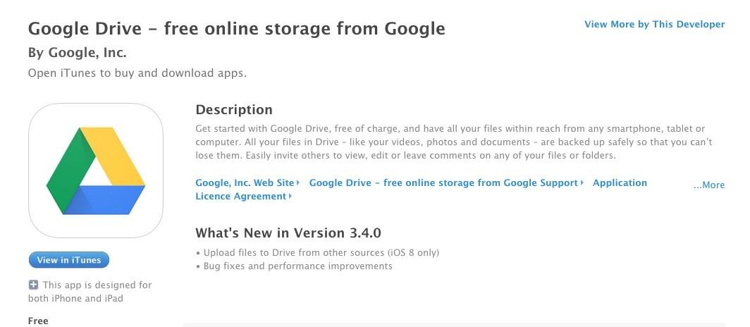 Google Drive Gets Upload Perks on iOS 8