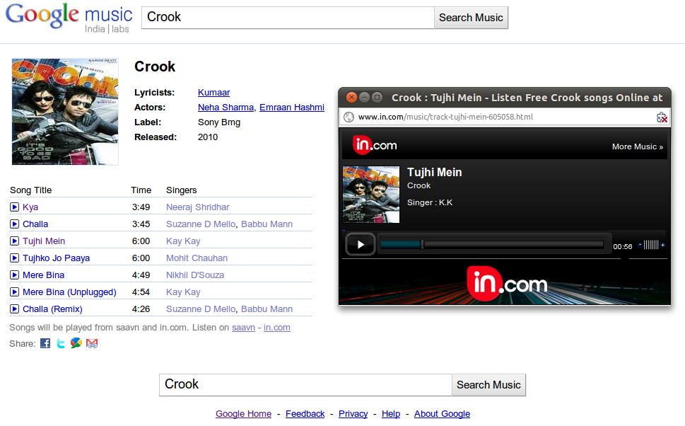 Google Launches Bollywood Music Search Engine in India