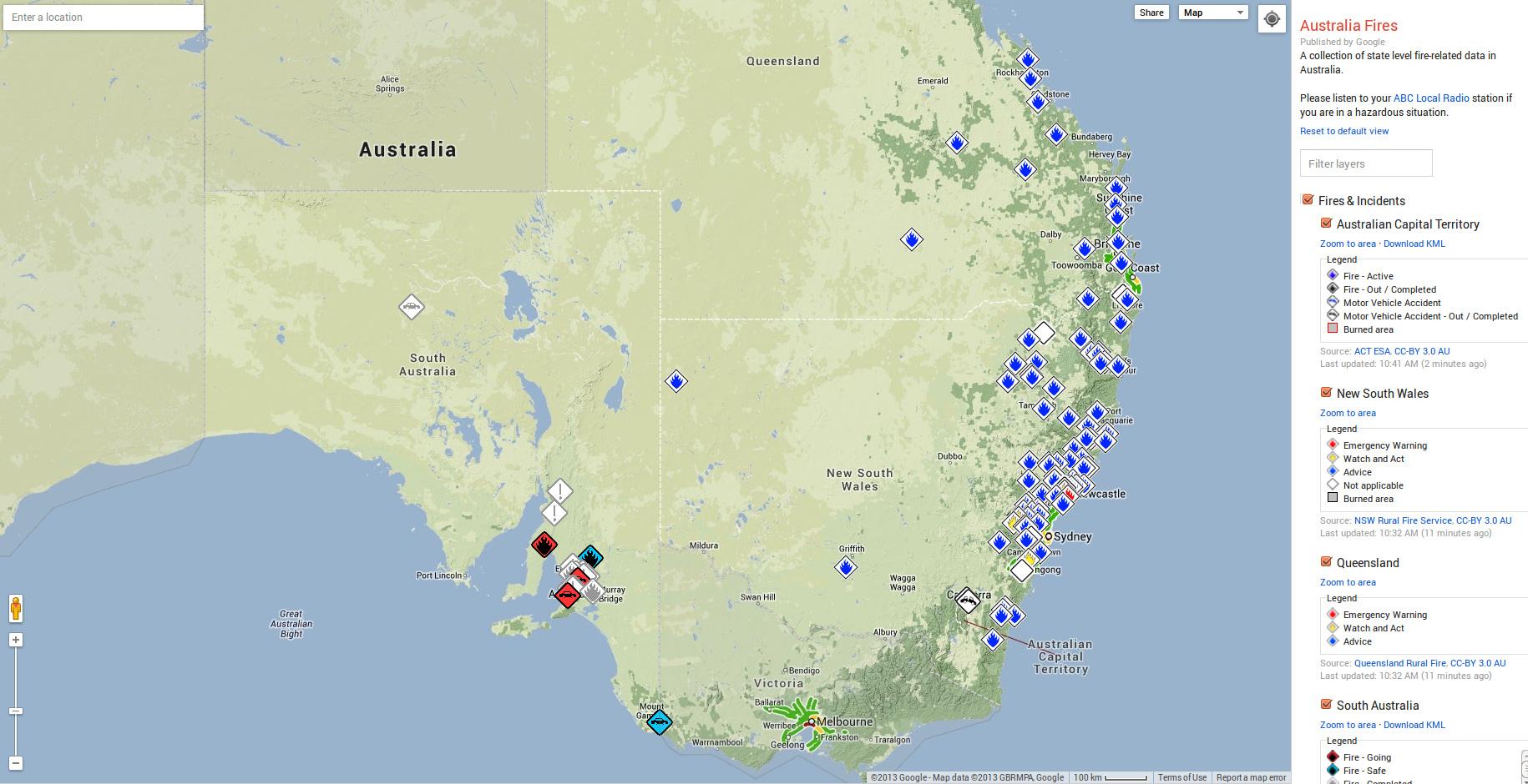 Google Australia Map.Google Launches Crisis Map For Australia Bushfires