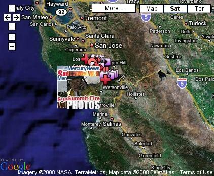 Google Map Showing Santa Cruz Mountains Wildfire