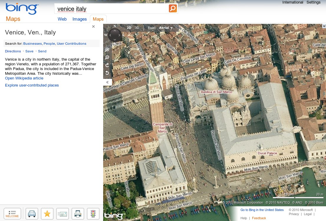 Aerial map from bing maps© with blue rectangles highlighting zones.