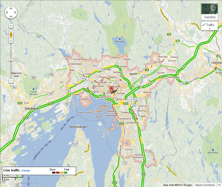 Google maps gets live traffic conditions for norway new zealand and live traffic in oslo norway one of the new locations now supported in google maps gumiabroncs Gallery