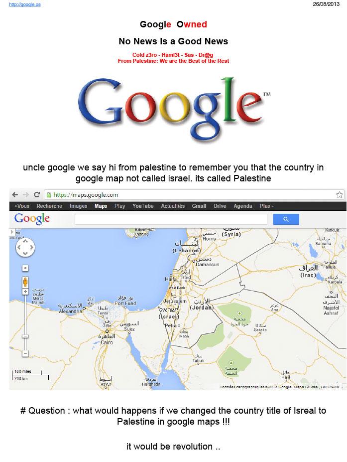 Google Palestine Defaced Because Palestine Is Shown as Israel on ...