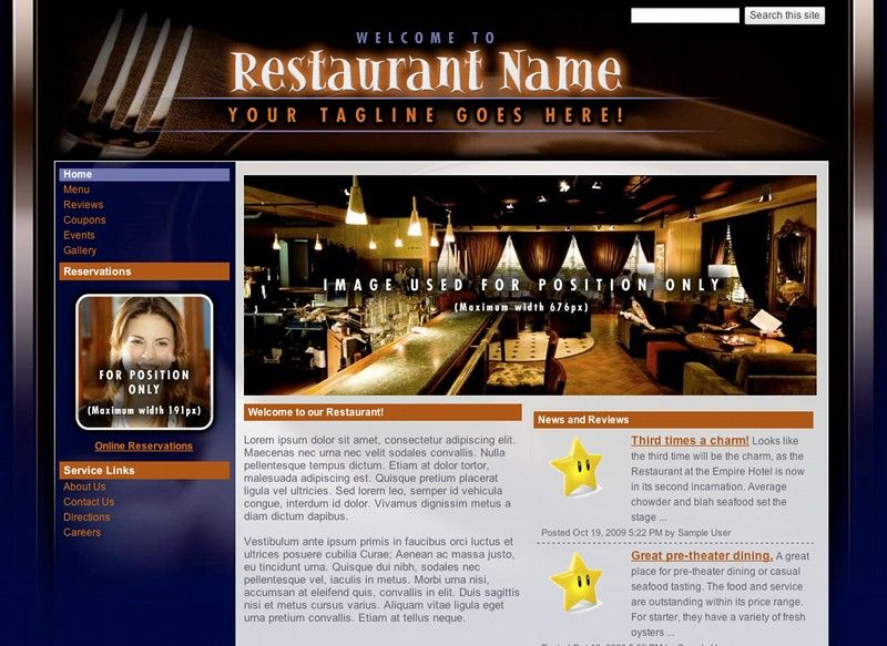 The Restaurant Template In Google Sites