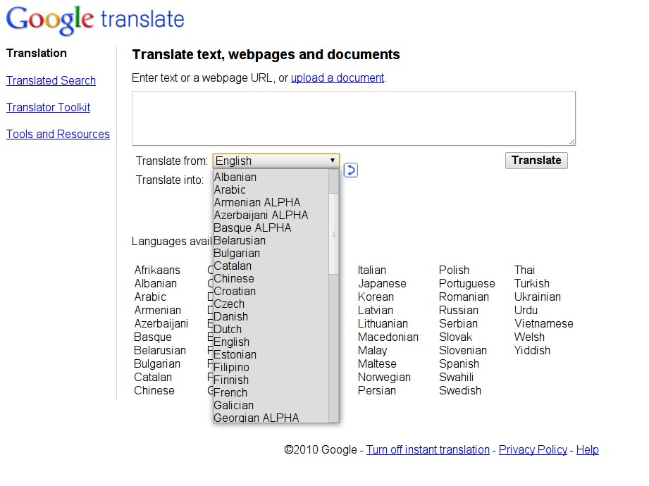 google translate slovenian to english