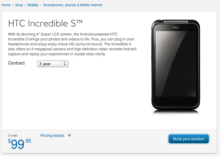 HTC Incredible S Now on Sale at Bell Canada