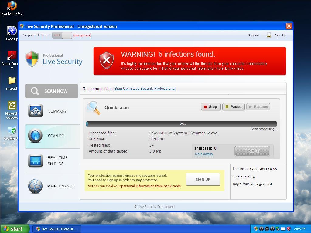 Android virus displaying malicious links