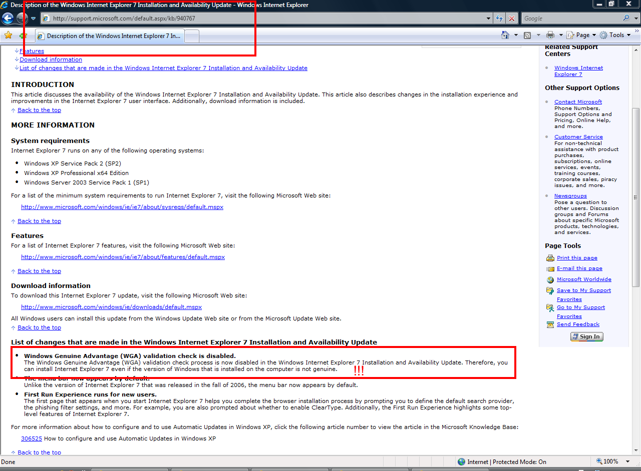 Happy Birthday Internet Explorer 7! Microsoft: Install IE7 Even on