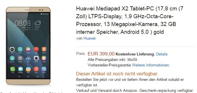 """Huawei MediaPad X2 7-Inch """"Not Tablet"""" Up for Pre-Order for €400"""