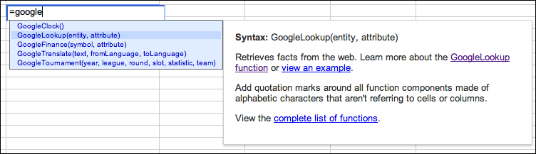 Inline Help Box Makes Google Docs Spreadsheet Functions Easier to Use