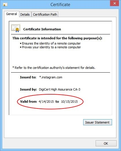 certificate tls instagram expired security warnings pop renewed validity