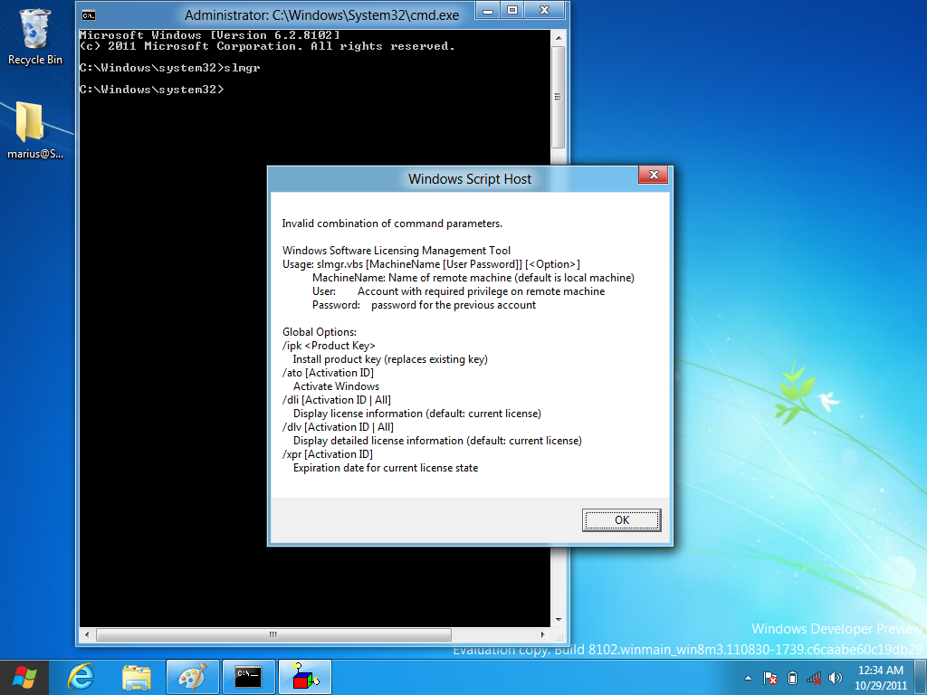 Installing a Product Key and Activating Windows 8 Developer