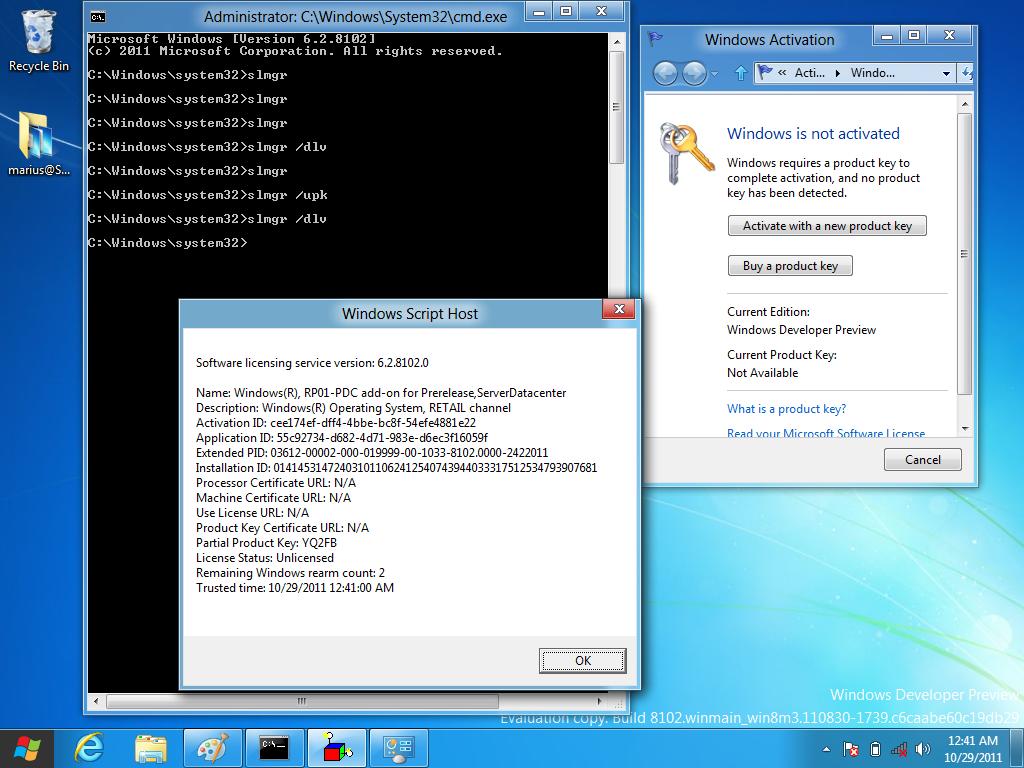 slmgr /upk windows 8