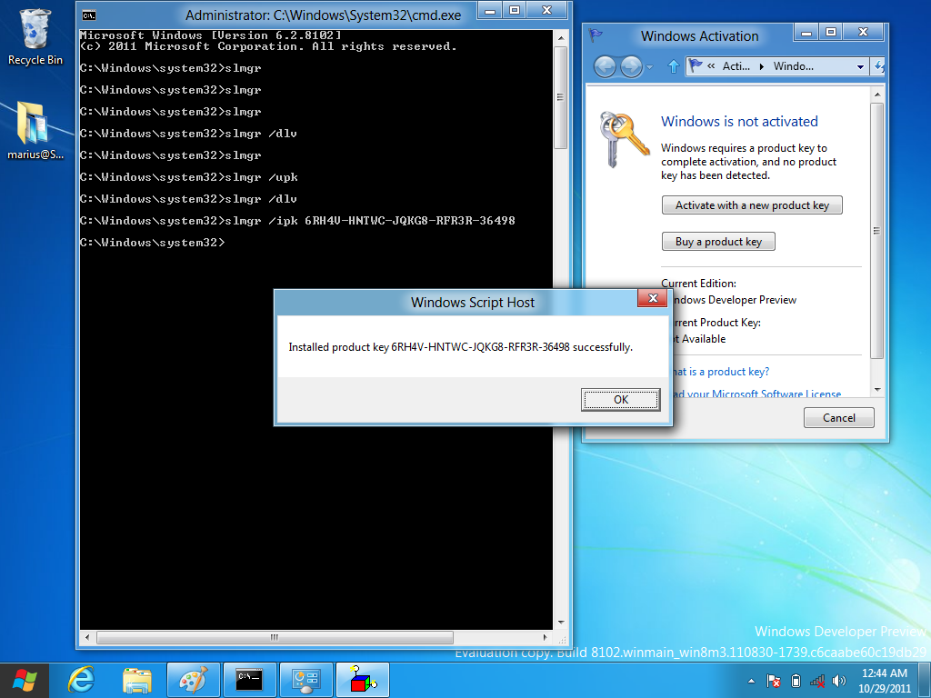 activate windows 8 command prompt