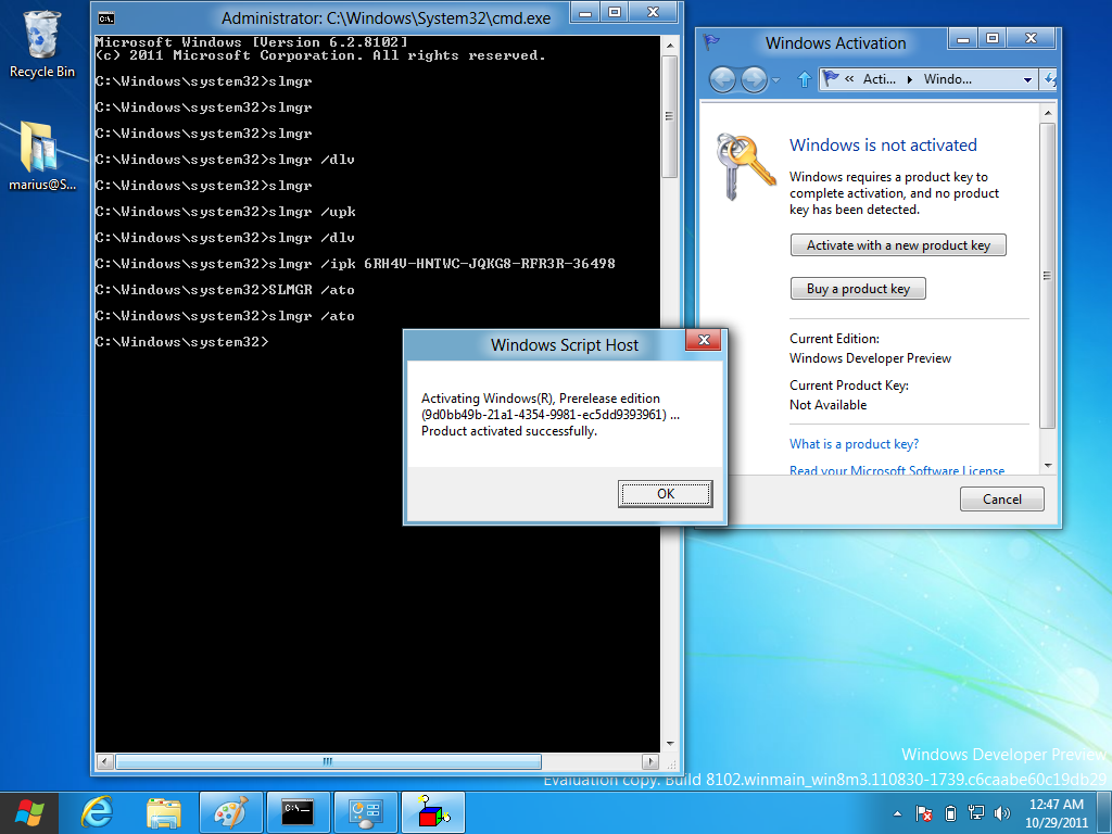 slmgr command to activate windows 7