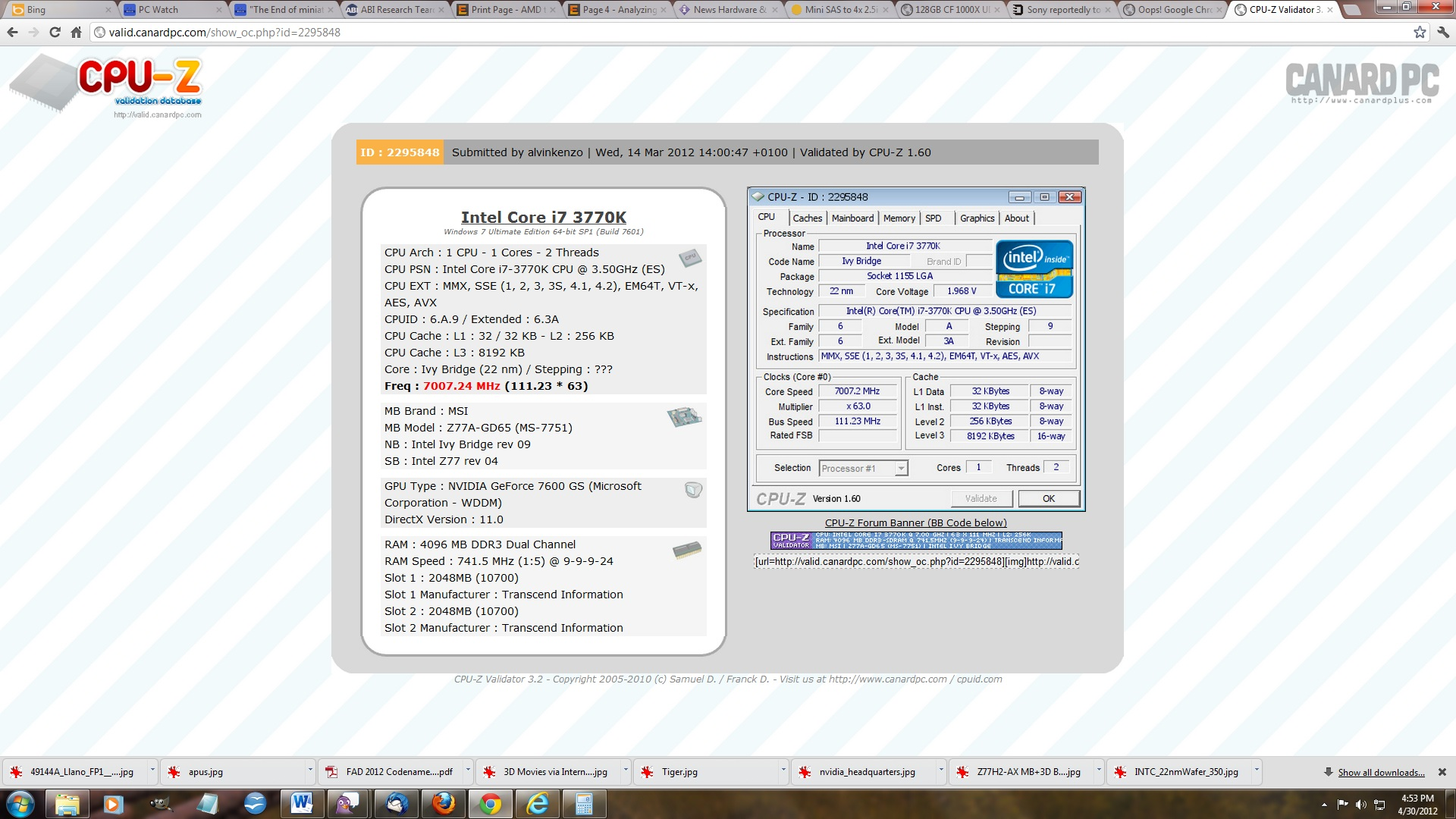 Intel's i7-3770K CPU Overclocked to 7 GHz with MSI's Z77