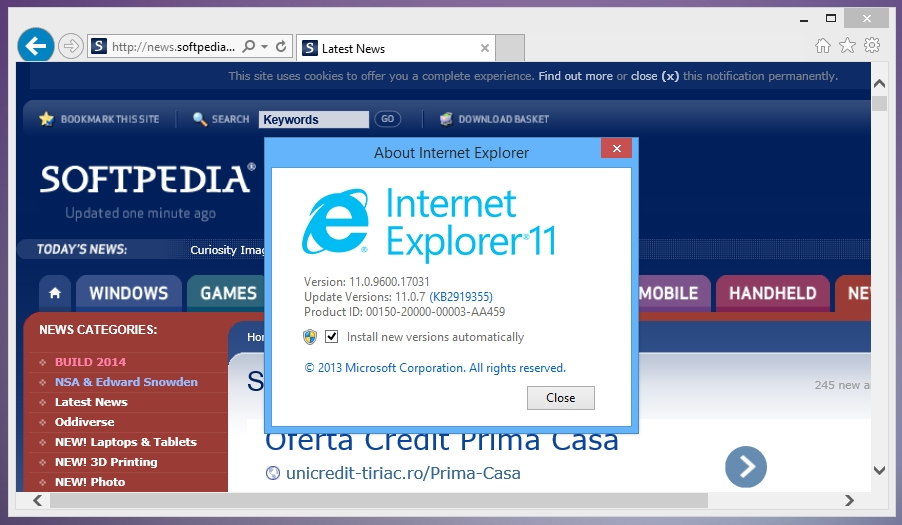Microsoft internet explorer 10 for windows 7 (32-bit) | v3.