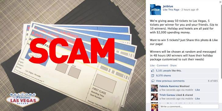 jetblue airways customers warned of free tickets facebook scam