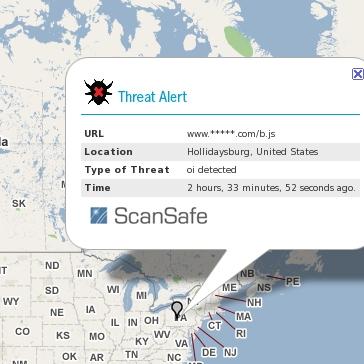 Live Global Map Displaying Internet Threats