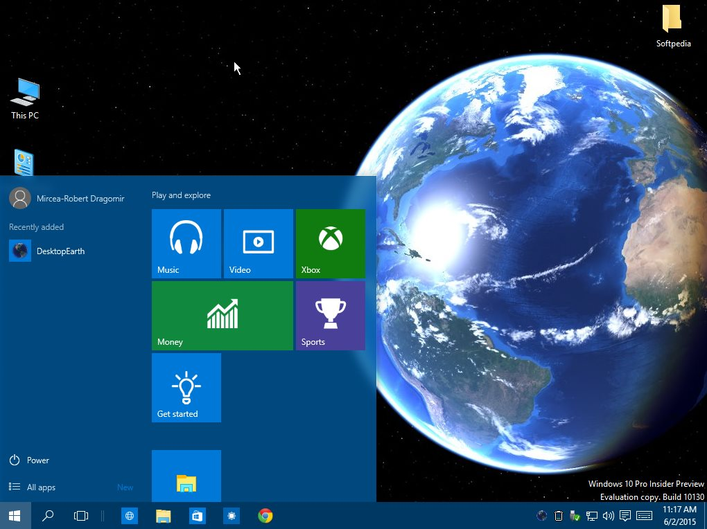 Windows 10 Earth animated wallpaper