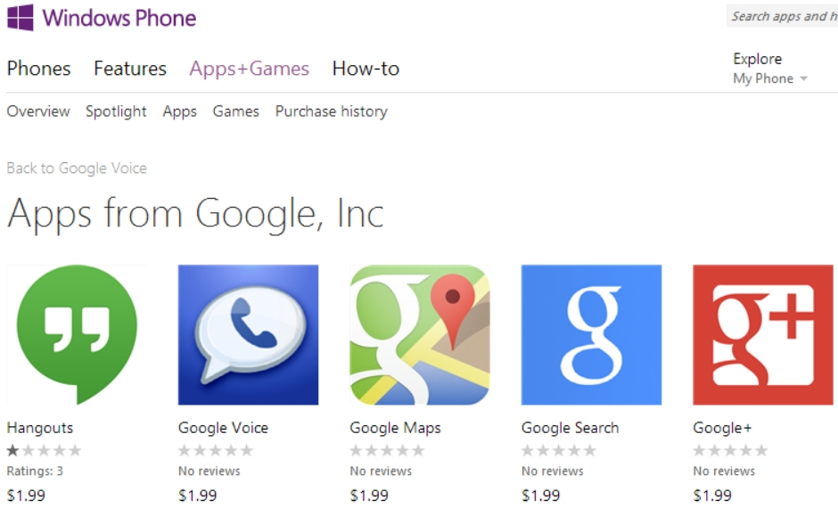 Microsoft Removes Fake Google Apps from Windows Phone Store