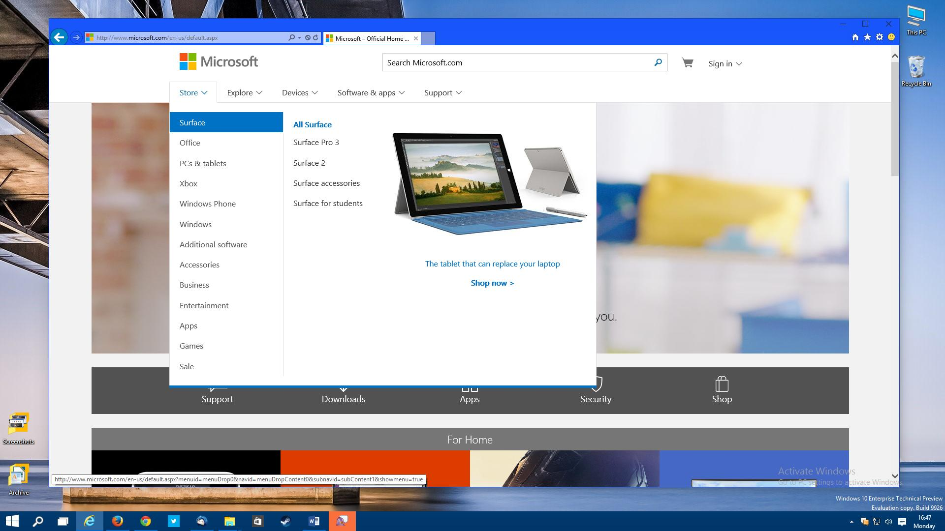 how to set homepage in windows 10