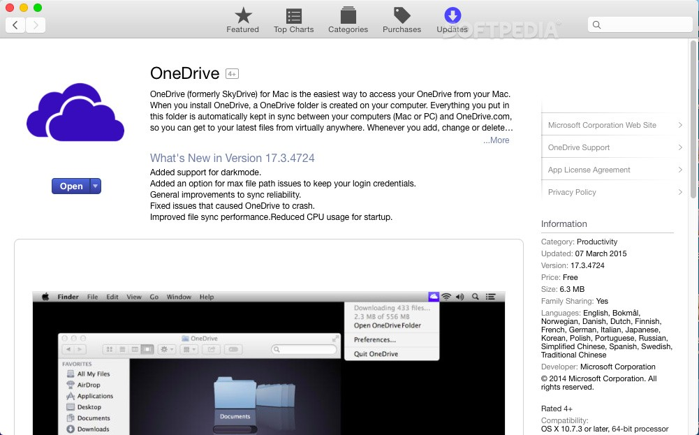 Microsoft Updates OneDrive Client for Mac OS X with Improved