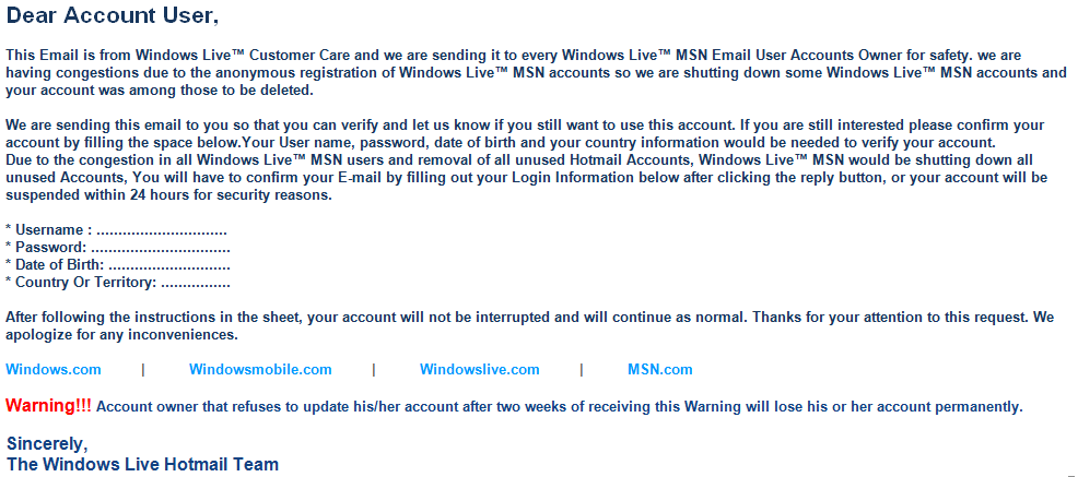 Microsoft Warns of Windows Live 'Confirm Your Account