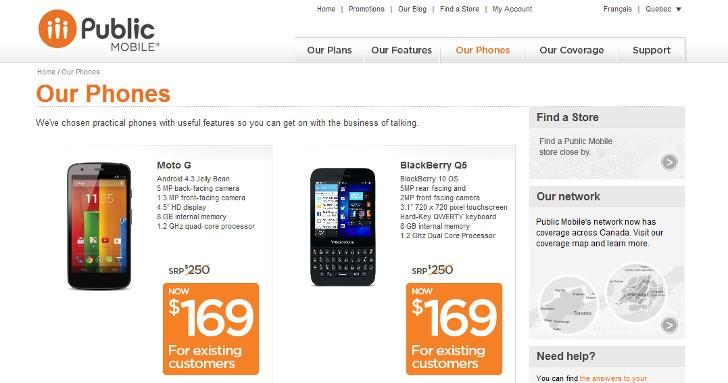 Motorola Moto G and BlackBerry Q5 Go on Sale at Public Mobile