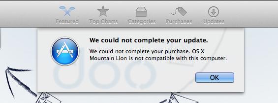 mountain lion mac app store error