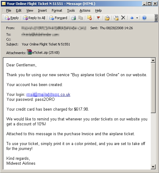 New Airline e-Ticketing Spam Taking Off