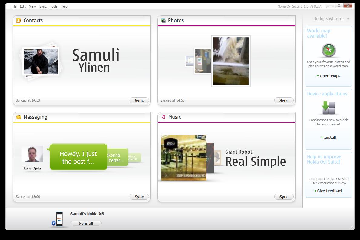 Screenshots of Nokia Suite