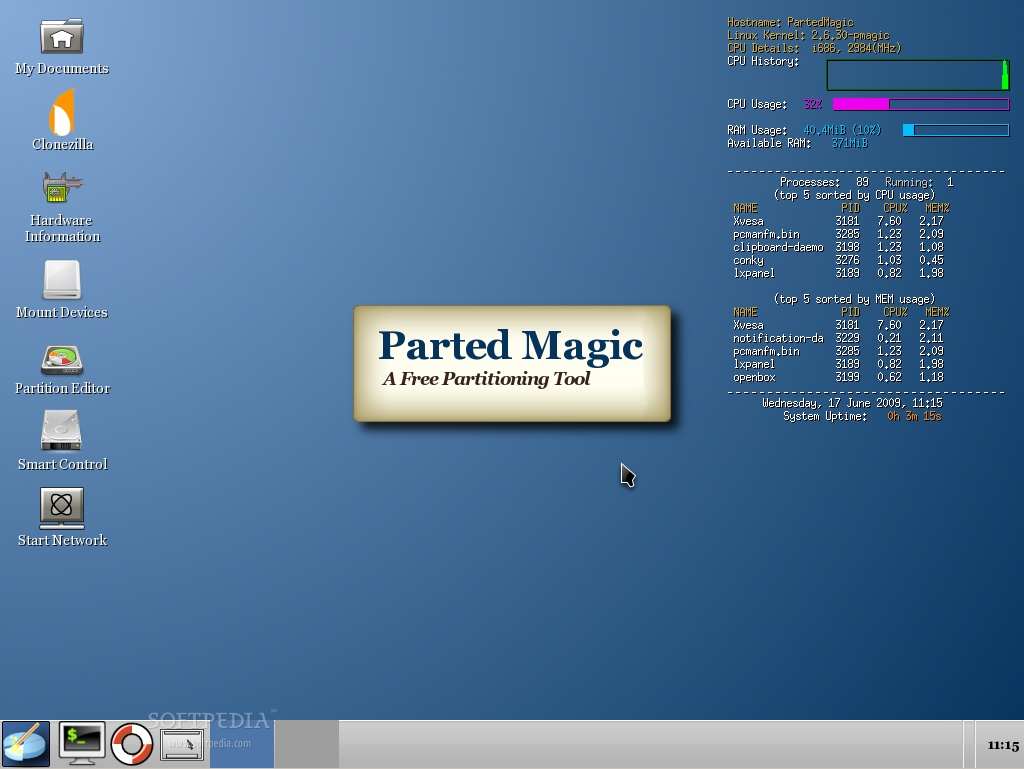 Parted Magic 4 2 Has Clonezilla and Linux Kernel 2 6 30