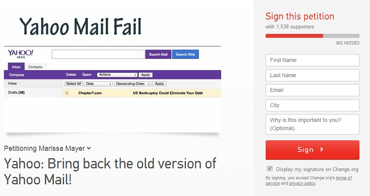 Petition Asks Marissa Mayer to Bring Back Old Yahoo Mail ...