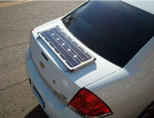 Solar Panel Installed On A Chevrolet Impala Used By The Jacksonville Police To Charge 12