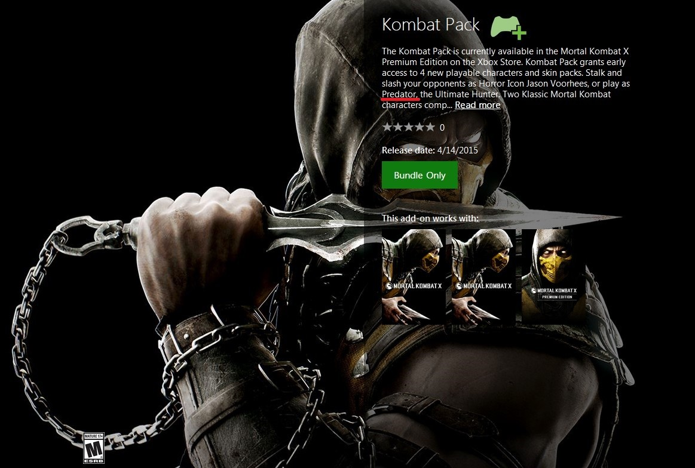 Predator Confirmed for Mortal Kombat X Kombat Pack DLC by Listing