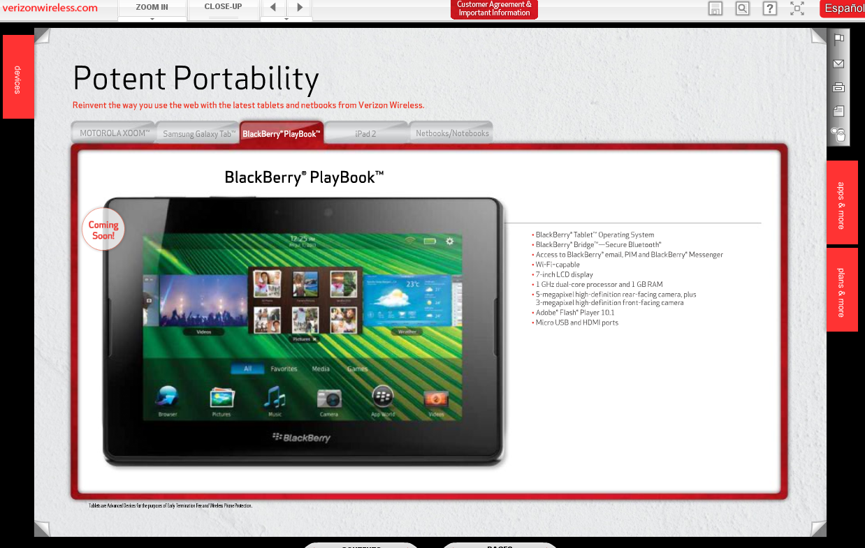 RIM's PlayBook, HTC Trophy, Xperia PLAY Coming Soon at Verizon
