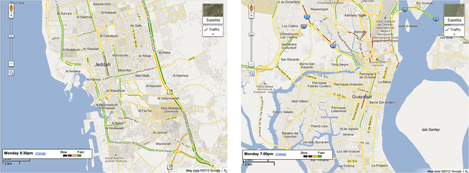 Real Time Live Traffic Conditions In Google Maps For Saudi Arabia